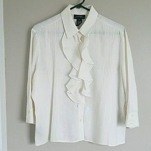 Ralph Lauren cream ruffled blouse